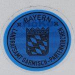Stempelplakette für Kurzzeitkennzeichen (Beispiel: Garmisch-Partenkirchen)