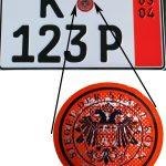 Stempelplakette für Ausfuhrkennzeichen